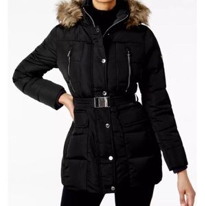 Michael Kors hooded Faux fur trim down jacket